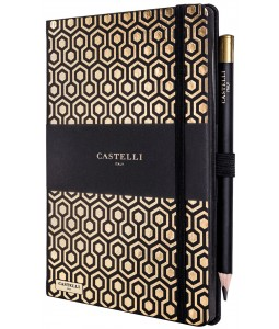 Honeycomb Ivory Notebook Gold