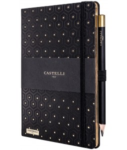 Honeycomb Ivory Notebook Black and Gold