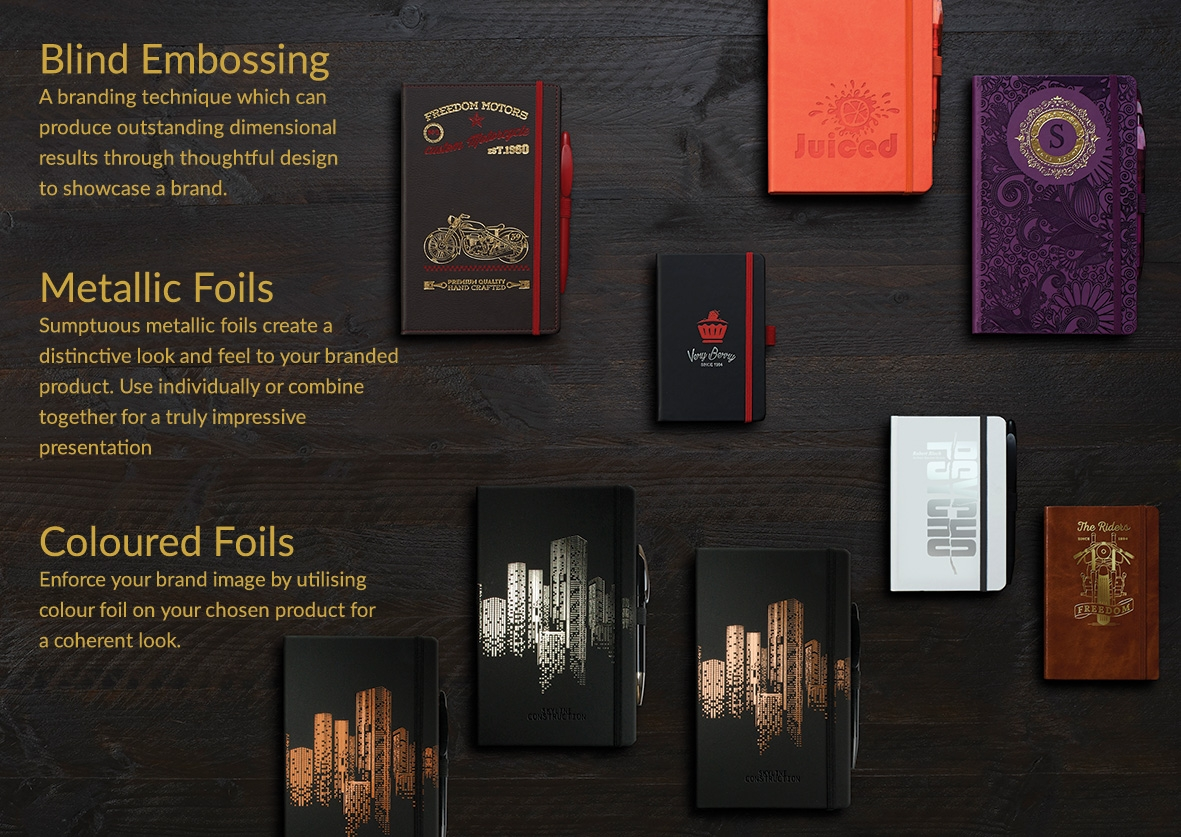 Castelli Notebooks and Diaries - corporate branding options